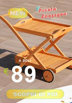 carrello da giardino portavivande in legno