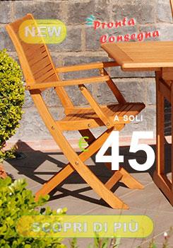 sedia da giardino con braccioli in legno in offerta