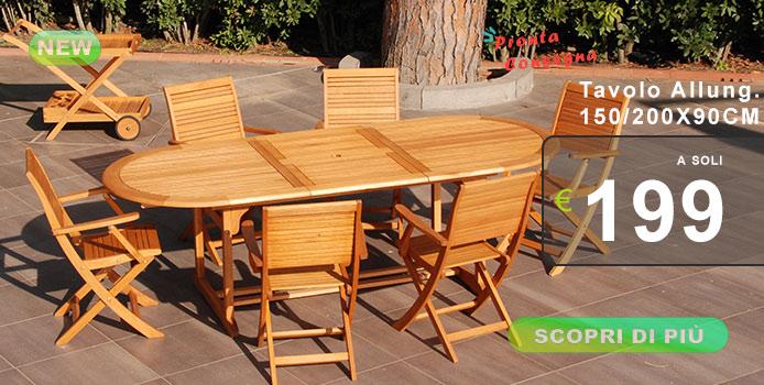 Tavolo da giardino allungabile fino a 2 metri
