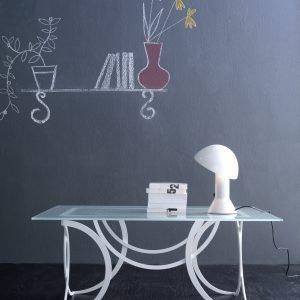 tavolino ferro rettangolare bianco design azzurra