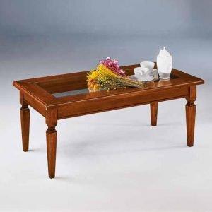 tavolino da salotto in legno con vetro rettangolare ulisse