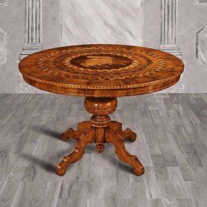 tavolo tondo classico piano lavorato