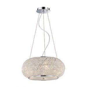 lampadario con perle di cristallo cromo 6 punti luce