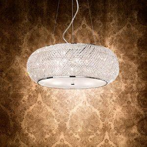 lampadario con perle di cristallo