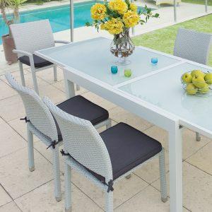 tavolo allungabile struttura alluminio piano vetro temperato