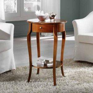 tavolino salotto tondo classico con portariviste